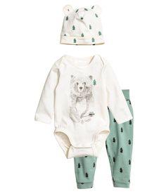 3-osainen trikoosetti | Vihreä/Nalle | Lapset | H&M FI