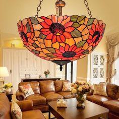 BYB Vintage Tiffany Style 3 Lights Chandelier Ceiling Lighting Pendant Lamp