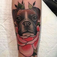 Download Free Traditional Boxer Dog Face With Rose Tattoo Design For Leg to use and take to your artist.