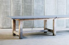 Heerenhuis Manufactuur   Tables   TT MTM (but with a wooden top and without the middle supports if possible in our length, but this type of wood would be great and I love the lines of the base)