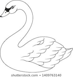 Cute Cartoon Swan Coloring Page Yarn Crafts For Kids, Bird Crafts, Arts And Crafts, Paper Crafts, Bird Drawings, Animal Drawings, Cute Drawings, Swan Drawing, Animal Templates