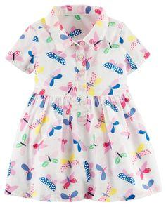 Butterfly Poplin Shirt Dress