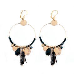 Gwapita x Jessica Turkman. Boucles d'oreilles Gipsy, coloris noir doré.