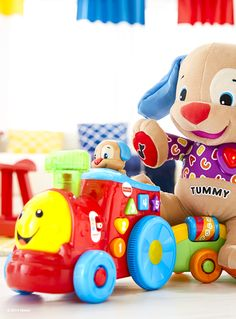 The Fisher-Price Laugh & Learn® Puppy's Smart Stages™ Train features three levels of content to encourage development and learning as your baby grows. Plus, it introduces your baby to colors, shapes and more with 50+ sing-along songs, tunes and phrases!