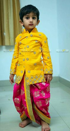 panchalu Indian Dresses For Kids, Kids Indian Wear, Kids Ethnic Wear, Dresses Kids Girl, Baby Dresses, Mom And Son Outfits, Kids Outfits, Kids Dress Collection, Kids Wear Boys