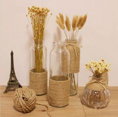 Zakka Hemp Rope Glass Vase Flower Bottle Ornaments Flower Stem Dried Flowers Vase bottle crafts with rope Diy Crafts For Home Decor, Diy Crafts Hacks, Diy Wall Decor, Diy Projects, Flower Bottle, Flower Vases, Diy Flower, Rope Crafts, Jar Crafts