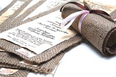Wedding Invitations Vintage Burlap Invitations by LenaWeddings