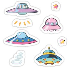 4 UFOs and 4 effect stickers for anyone who Wants To Believe / Please note listed size refers to combined size of all stickers; actual stickers are smaller. • Also buy this artwork on stickers and home decor.