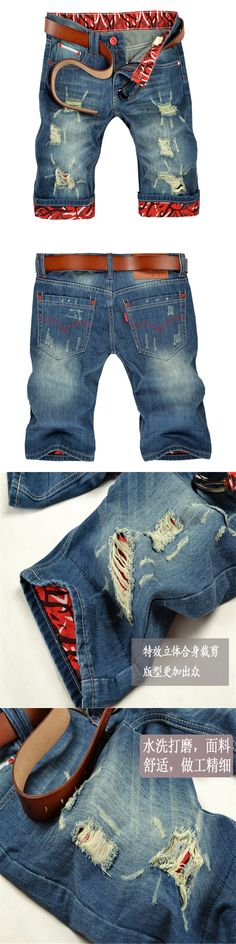 2017 New Fashion Men Jeans Casual Denim Shorts Summer Fit Punk Distressed Hole Mid-Length Brief Male Shorts Vintage