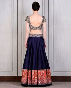 Navy Blue Raw Silk Lehenga with Coral Embroidered Border - Wedding