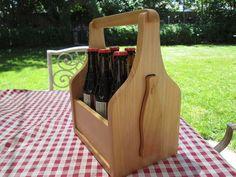 Handmade wooden 6 pack Bottle Carrier designed to hold and carry 6 12oz bottles, includes Wooden Beer Bottle Opener in shape of a Bottle