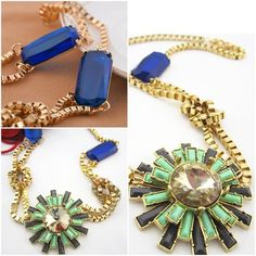 Sunburst pendant necklace. Acrylic sunburst pendant necklace.  Knotted chain detail with pops of contrast blue color.  Great with T-shirt or under a shirt collar. Jewelry Necklaces
