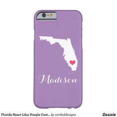 Florida Heart Lilac Purple Custom Monogram Barely There iPhone 6 Case