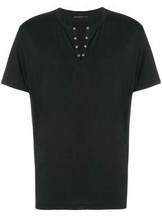 Black cotton rivet neck T-shirt from John Varvatos featuring a v-neck, rivet detailing and short sleeves. T Shirt Vest, Neck T Shirt, John Varvatos, Black Cotton, Size Clothing, Women Wear, Short Sleeves, V Neck, Fashion Design