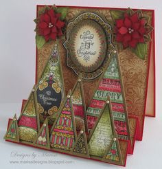 Designs by Marisa: JustRite PaperCraft July Release - The Joy of Christmas Card Stepper card Christmas Card Crafts, Christmas Drawing, Christmas Scrapbook, Christmas Cards To Make, Christmas Paper, Xmas Cards, Handmade Christmas, Holiday Cards, Christmas Ideas