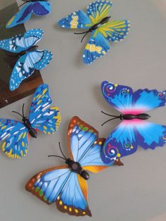 12x Colours Butterfly Stereo Decoration Plastic Vinyl Wall Decals Art Stickers