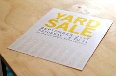 Yard Sale - Printable Flyer by PaperLoveHandmade on Etsy Neighborhood Garage Sale, Sale Flyer, Yard Sale, Party Planning, Printables, Graphic Design, How To Plan, Unique Jewelry, Handmade Gifts