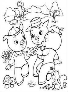 Os Três Porquinhos para colorir