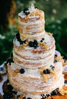 White currants, seasonal berries, naked cake //  Kel Ward Photography