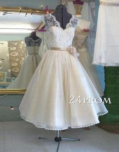 A-line Lace Tea-length Wedding Dress, Bridal Dress, Customized service and Rush order are available Wedding Dress Organza, V Neck Wedding Dress, Red Wedding Dresses, Affordable Wedding Dresses, Tea Length Wedding Dress, Tea Length Dresses, Princess Wedding Dresses, Cheap Wedding Dress, Wedding Gowns