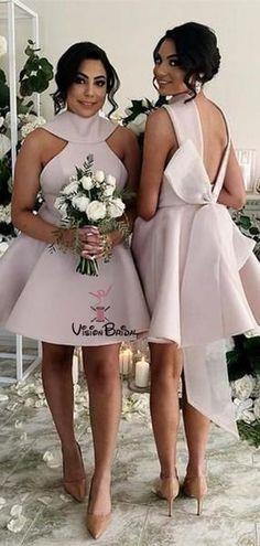 e82b61fe80d Elegant Halter Short Knee-length Bridesmaid Dresses With Bow-Knot