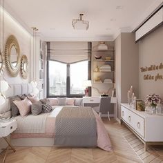The Elegant White Master Bedroom & Decorative Blush Pillow Chronicles - deco. : The Elegant White Master Bedroom & Decorative Blush Pillow Chronicles – decorhomesideas Cute Bedroom Ideas, Cute Room Decor, Girl Bedroom Designs, Small Room Bedroom, Home Decor Bedroom, Modern Bedroom, Master Bedroom, Blush Bedroom, Modern Girls Bedrooms