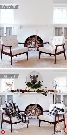 An always-chic white space can be turned into a rustic holiday haven with black-and-white details and natural elements. The mix of textures creates cozy contrast, and gold, silver and copper animal figurines look great on a mantle, just below a cool faux-bear head. Add some warmth with a buffalo-check pattern in pillows and throws, and a graphic bear pillow is the perfect finishing touch.