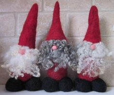 Wool Gnomes | ... Gnomes needle felt dwarf using wool tops and natural curly wool for
