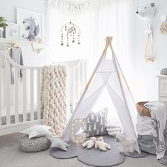 Gorgeous room by @oh.eight.oh.nine love all the soft colours and textures. #kidsroominspo #childrensinteriors #childrensbedroom #childrensdecor #kidsinteriorstyling #kidsbedroom #kidsbedroomdecor #kidsinteriordesign #kidsinteriorstyling #childrensroom #childrensbedroom #teepee #greyandwhite #nurseryideas #nurserydecor #nursery #childrensinteriordesign by rhysie_roo
