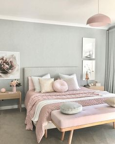 Pink Bedroom Design, Pastel Bedroom, Pink Bedrooms, Bedroom Green, Bedroom Designs, Silver Bedroom, Bed Design, Girls Bedroom, Couple Bedroom