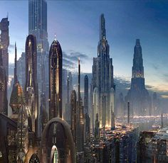 Coruscant is the city of planets. It's all about transportation and travel, however it lacks in green space, unlike alderaan and naboo. The planets in Star Wars are good examples of failed and successful city solutions. Fantasy City, Fantasy Places, Sci Fi Fantasy, Fantasy World, Cyberpunk City, Futuristic City, Futuristic Architecture, City Architecture, Landscape Architecture