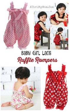 Baby Girl Lace Petti Ruffle Rompers, fashion sale for kids, shabby chic clothing
