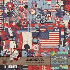 Americana the Patriotic Digital Scrapbooking Kit - Celebrate America with the Americana kit! Perfect for patriotic holidays such as the 4th of July or Memorial Day, Americana can also be used to scrap layouts with a military theme, vacations to national landmarks or visits to museums.  Americana contains 30 papers, 67 elements and 1 alpha.