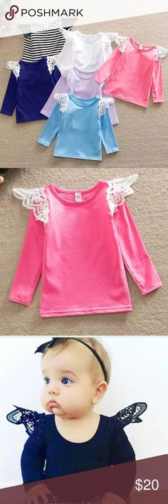 Girls' Lace Flutter Sleeve Top Very stretchy long sleeved top with lace accents at the shoulder. Shirts & Tops Tees - Long Sleeve