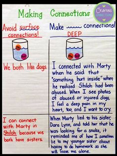 Crafting Connections: Anchors Away Monday: Making Deep Connections: Help students understand the difference between a deep connections and a surface connection. {Includes a FREEBIE}