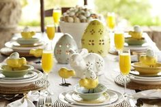 Pottery Barn Easter Table setting - yellows and whites Hoppy Easter, Easter Gift, Easter Crafts, Easter Table Settings, Easter Table Decorations, Easter Decor, Easter Ideas, Table Centerpieces, Easter Dinner