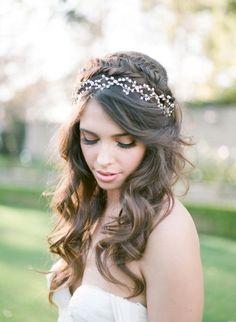 Braided half up half down wedding hairstyle with vine                                                                                                                                                                                 More #weddinghairstyles