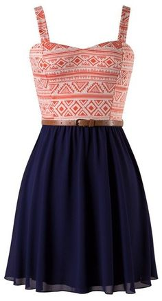 CORAL AND NAVY AZTEC PRINT BELTED SKATER DRESS #ustrendy www.ustrendy.com