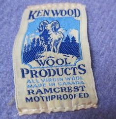 "Vintage ""Kenwood Wool Products"" label, ""All Virgin Wool, Made in Canada, Ramcrest Mothproofed"".  Kenwood was a label sold by the T. Eaton department store.  Via FabriqueFantastique on Blogger."