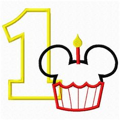 Set 1-9 Disney Mickey Mouse Cupcake Birthday Number Applique Set 4x4 and 5x7 Sewing Machine Embroidery Applique Design infant girls or boys. $5.99, via Etsy.