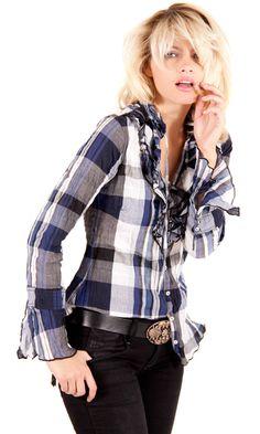 Plaid ruffle shirt by cino