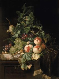 """""""Still Life with Fruit, Walnuts & Insects on a Marble Ledge""""  --  1670  --  Willem van Aelst  --  Dutch  --  Oil on canvas  --  Private collection"""