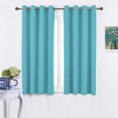 Amazon.com: Nicetown Home Decoration Thermal Insulated Solid Grommet Top Blackout Curtains / Panels / Drapes for Kid's Room (1 Pair,52 x 63 Inch in Fresh Green): Home & Kitchen
