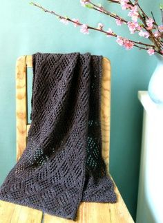 I can't get enough of scarf knitting instructions like this: they look so complicated, but they're a cinch to knit!  This gorgeous Lace Checkerboard Scarf is composed of basic yarn-overs, k2togs and slip-slip-knits - that's it.