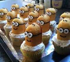 MINIONS!! jessie wants a minion party - but instead of twinkies - i'd use milano cookies