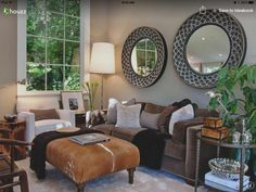Love this idea the mirror size graduates and the animal skin ottoman.