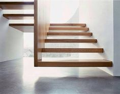 Floating timber stairs.