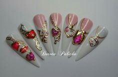Jewelry nail art, yransfer foil and liquid stones Valentine's and wedding nail art designs by Dorota Palicka International Nail Artist
