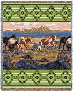 $49.99 The Wild Horses Green Western Horse Tapestry Throw Blanket showcases a majestic painting of wild horses roaming as the sun sets across a mountainous landscape bordered by southwestern Native American Style Patterns. http://www.delectably-yours.com/Southwestern-Throws-C382.aspx?s=OrderBy%20ASC=2