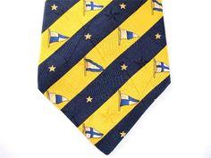 Tommy Hilfiger 100% Silk Neck Tie, Designer - Flags, Stars, and Stripes - Navy Blue & Deep Yellow, Made USA $12.73 #TommyHilfiger #NeckTie